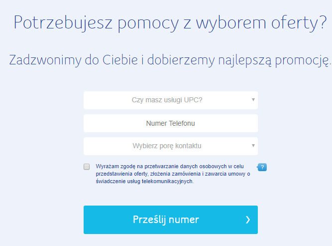 Landing page strony UPC